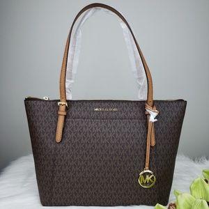 🌺NWT Michael Kors LG EW Ciara Tote Bag Brown MK